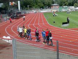 Maresa auf dem Weg zu ihrem Vorlauf über 100m